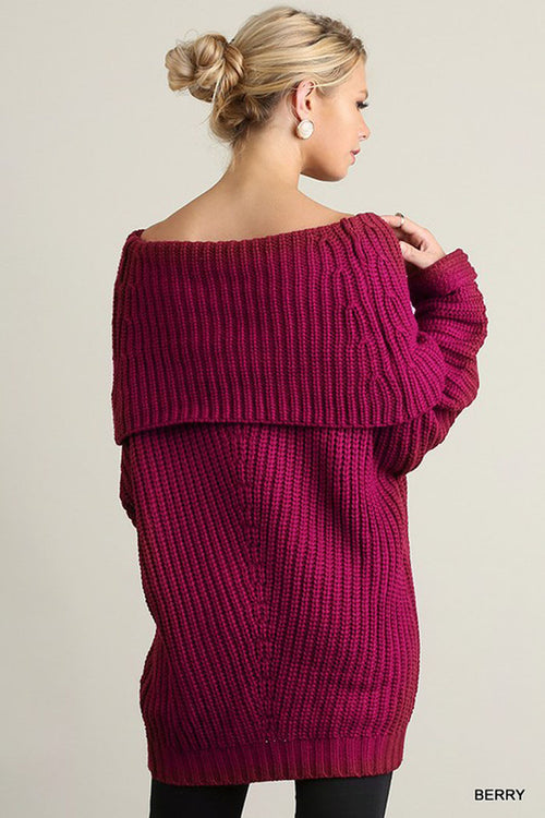 Fold Over Ribbed Sweater : Light Mauve