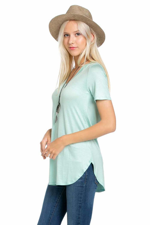 V-Neck Solid Top - shirts - GOZON