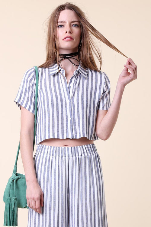 Striped Button Down Crop - Shirts - GOZON