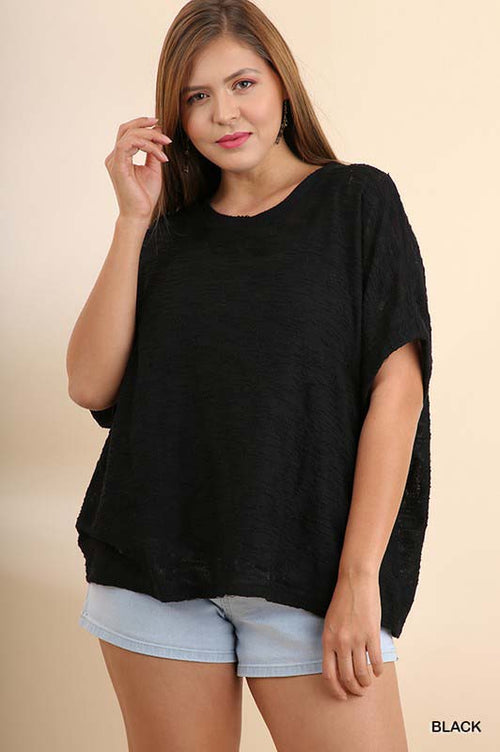 Brenna Dolman Slub Knit Top Plus : Black