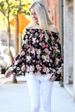 Off Shoulder Floral Top - shirts - GOZON
