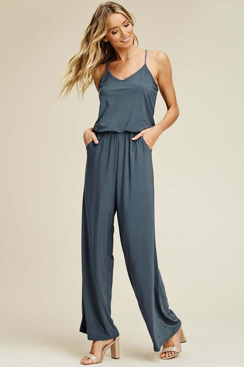 Renee Straight Leg Jumpsuits : Slate