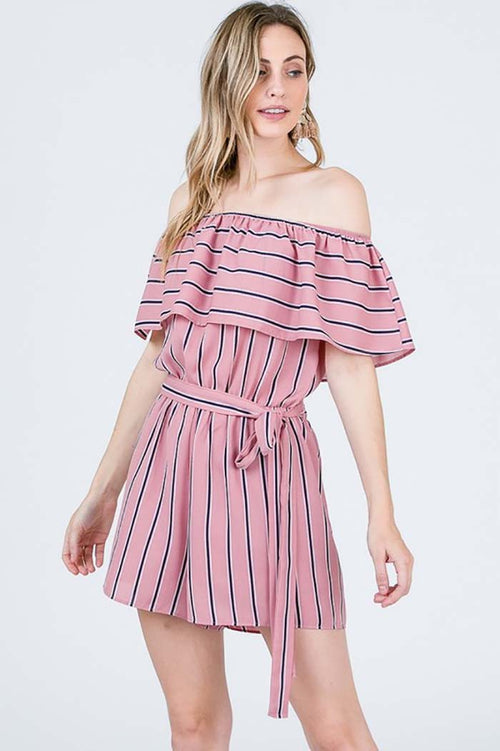 Gabriella Off Shoulder Romper : Mauve