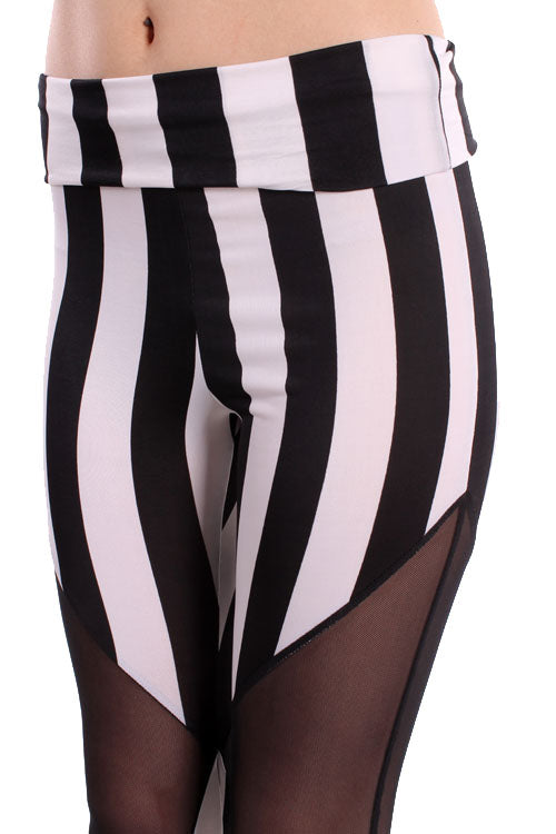Sheer and Stripe Leggings