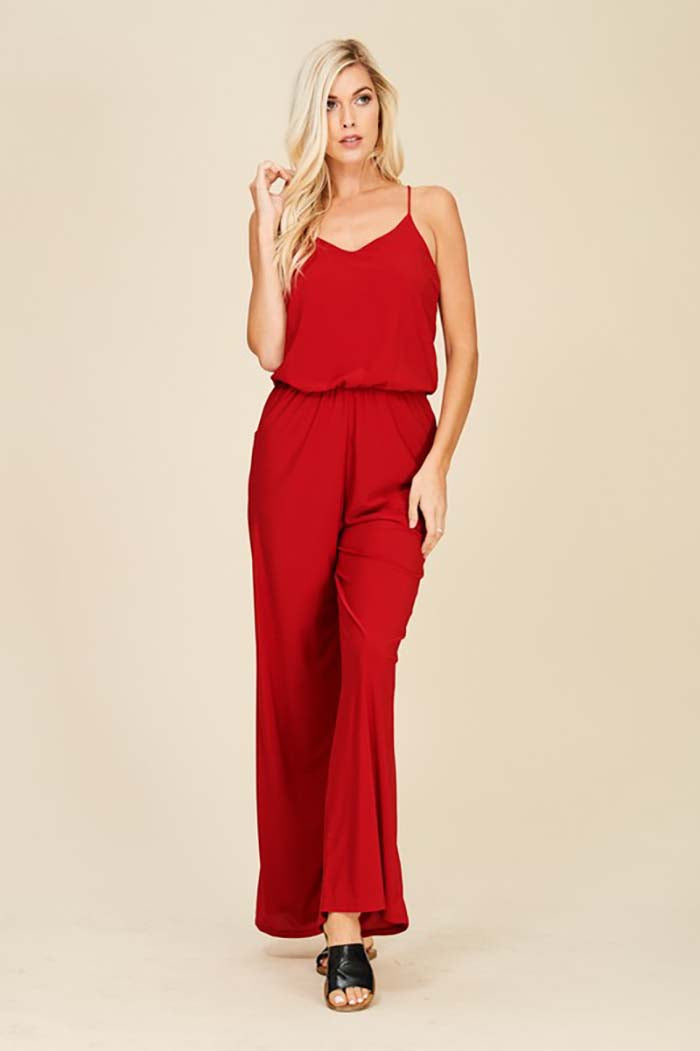 Renee Straight Leg Jumpsuits : Red