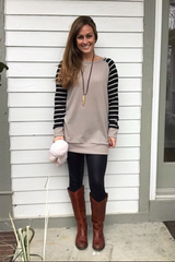 Striped Baseball Tunic Top : Black/Mocha