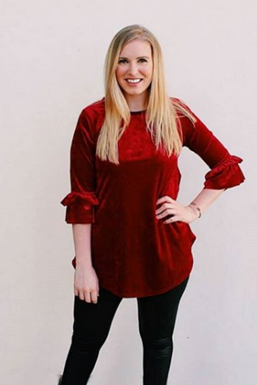 Tina Velvet Ruffle Top : Red