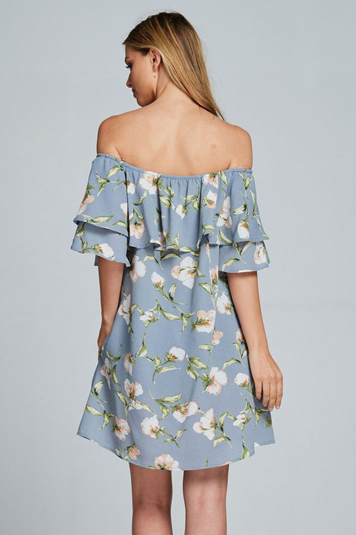 Floral Off Shoulder Mini Dress - Mini - GOZON