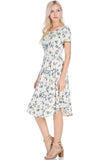 Watercolor Painting Floral Dress - midi - GOZON