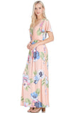 Elastic Waist Floral Maxi Dress - maxi - GOZON