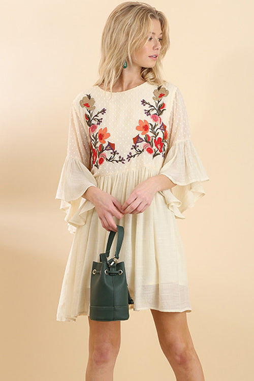 Sophia Floral Boho Dress : Natural