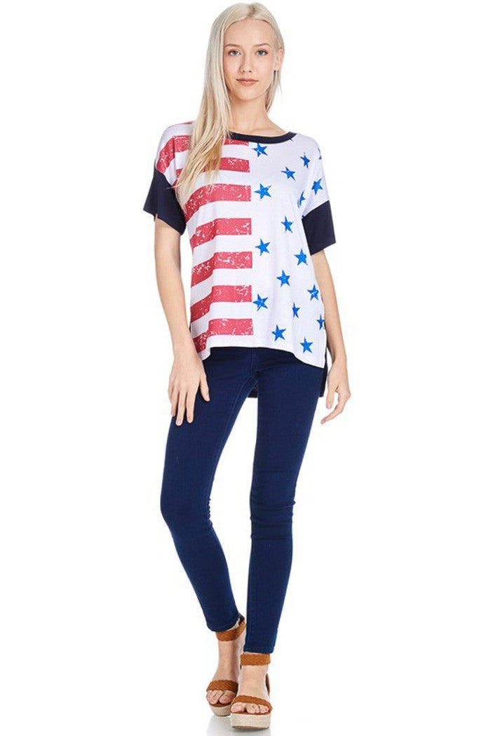 Color Block American Flag Top - Shirts - GOZON