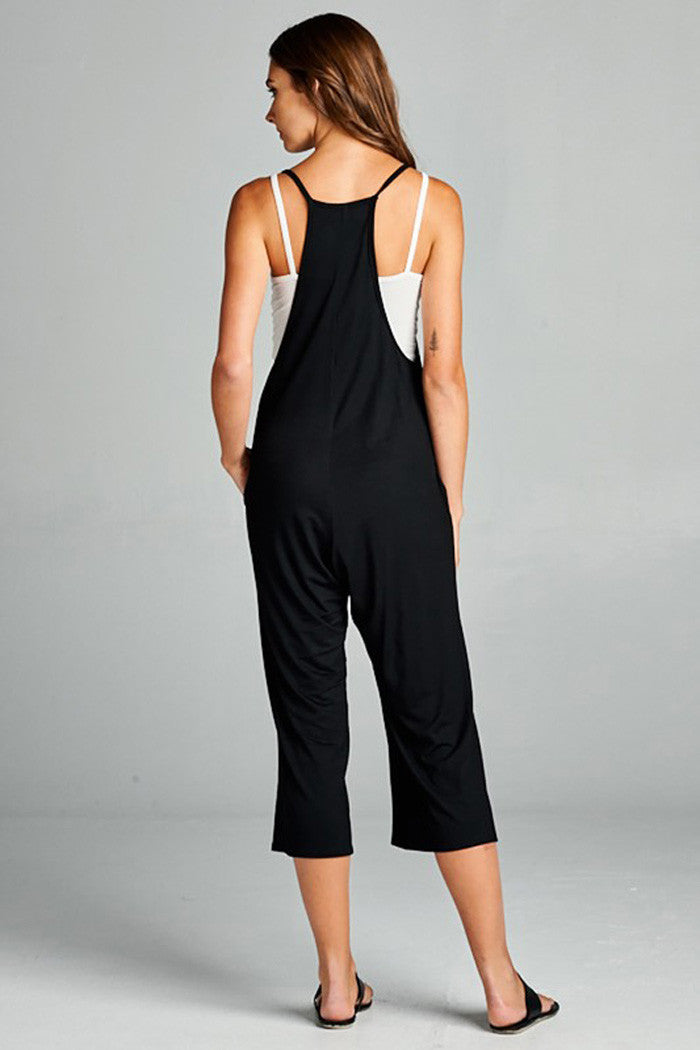 Plunging V-Neck Jumpsuit - Rompers & Jumpsuits - GOZON