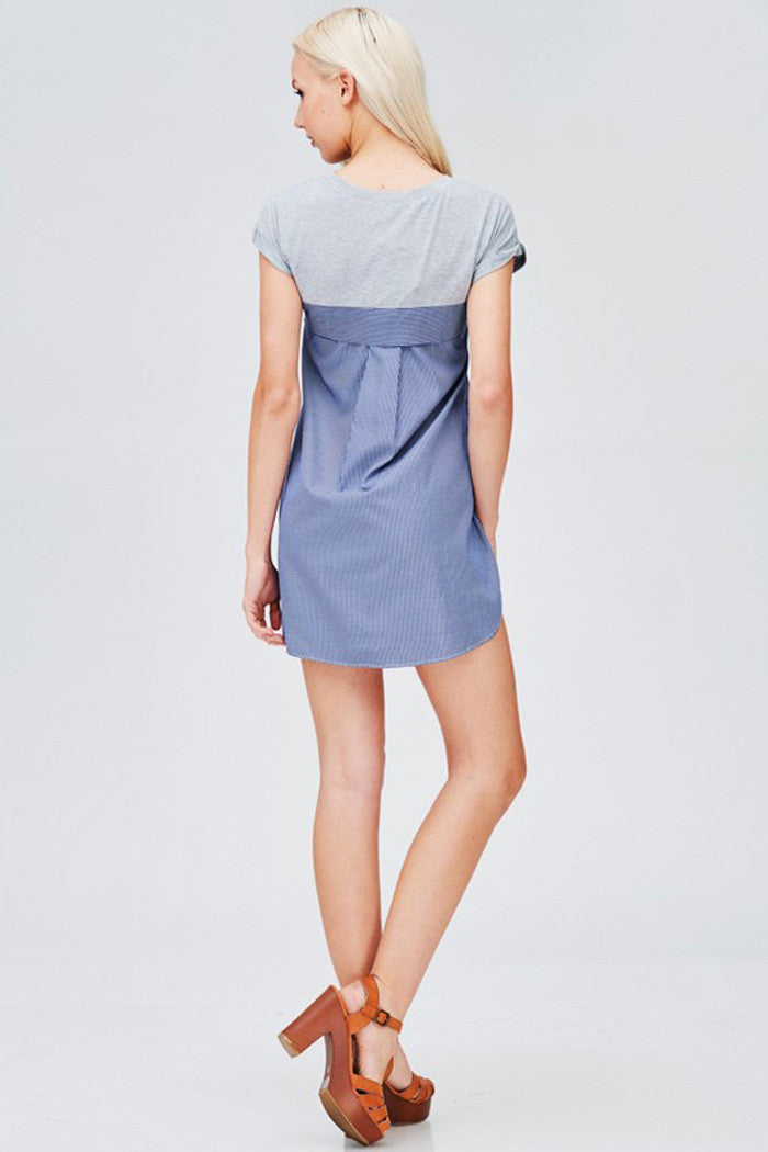 Button Up Shirts Mini Dress - mini - GOZON