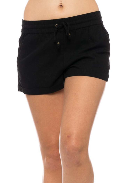 Luna Linen Shorts : Black