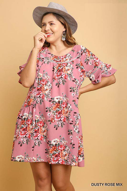 Margaret Floral Print Dress Plus : Dusty Rose