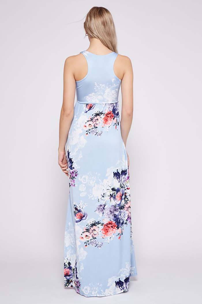 Floral Bouquet Maxi Dress : Aqua
