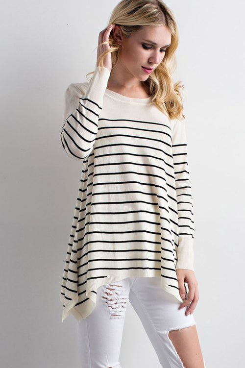 Handkerchief Stripe Top : Grey