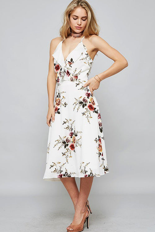 Floral Front Ruffle Dress - midi-pre - GOZON