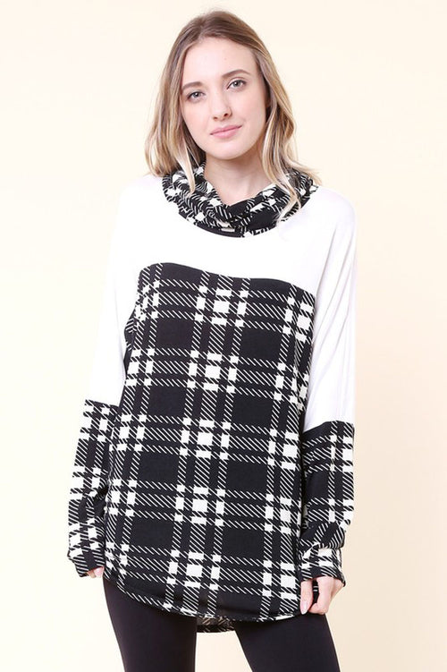 Suzy Plaid Contrast Tunic : Black/Ivory