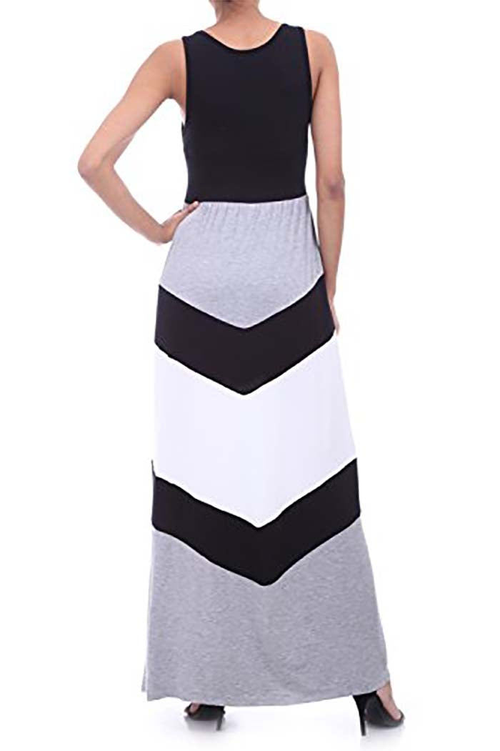 Chevron Stripe Sleeveless Tank Top Maxi Dress Gozon Boutique