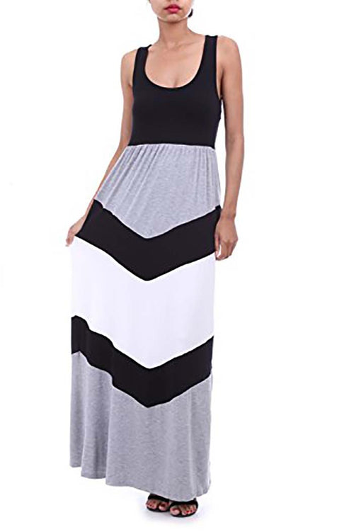 Chevron Stripe Sleeveless Tank Top Maxi Dress