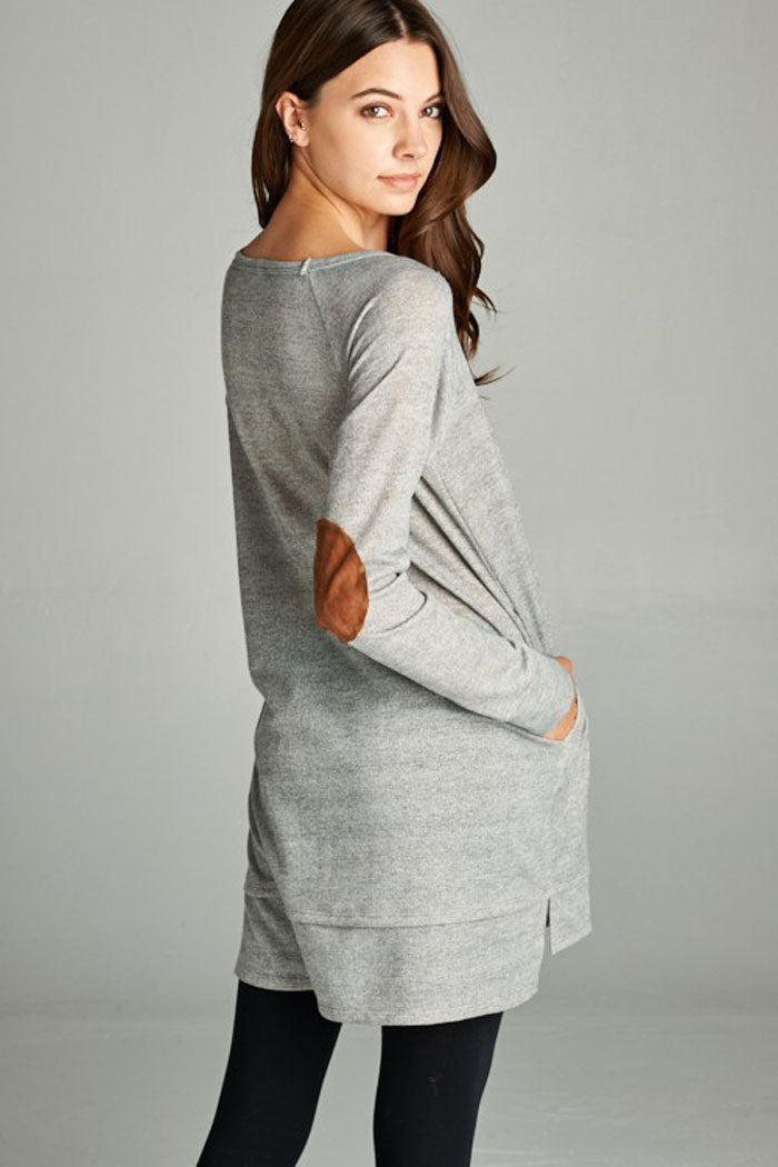 Suede Contrast Tunic Top : Heather grey