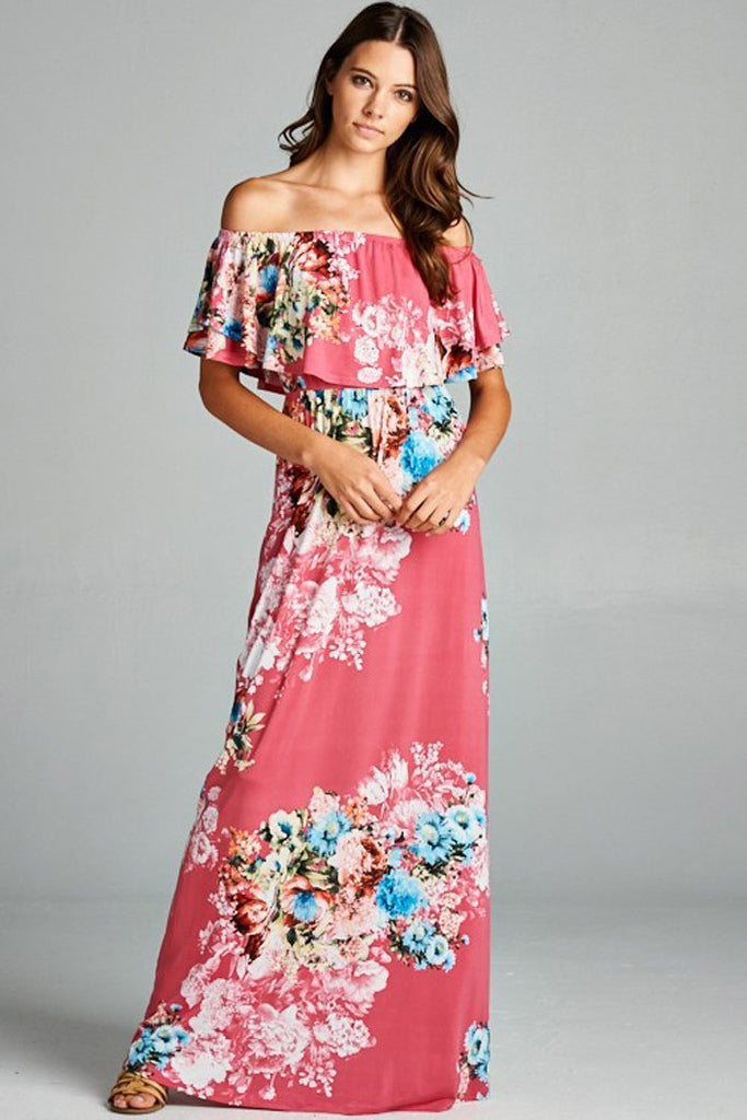 Floral Off Shoulder Maxi Dress - maxi - GOZON