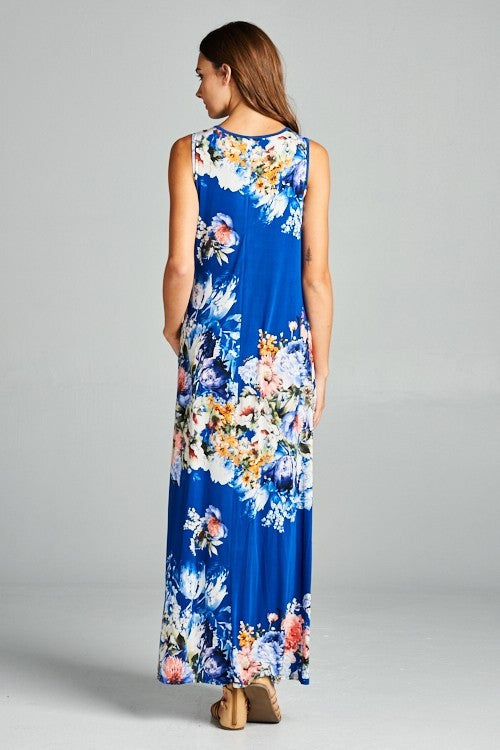 ce3118d85b7 GOZON Women s Sea Floral High-Low A-Line Maxi Dress with Hidden ...
