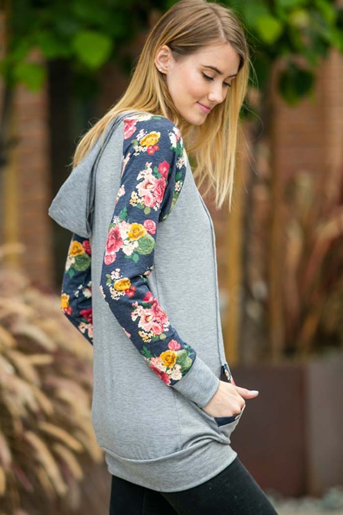 Floral Contrast Hoodie - Heather grey