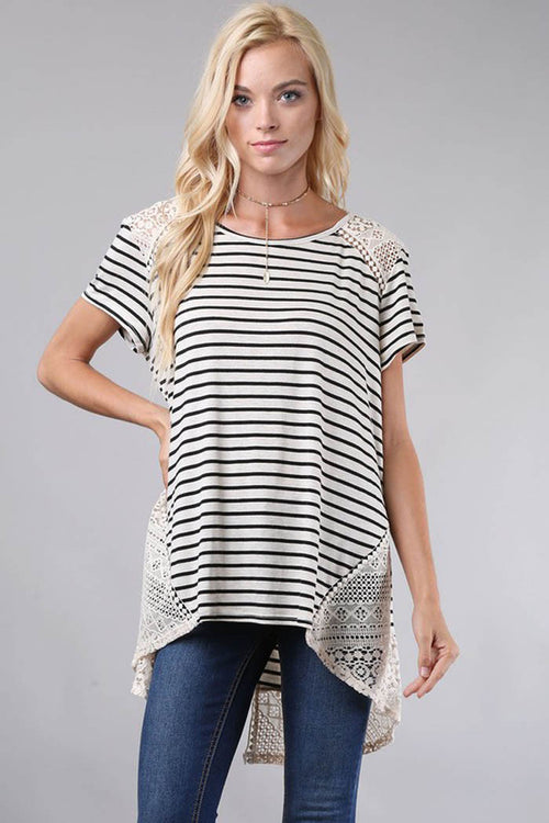 Stripe Top with Crochet