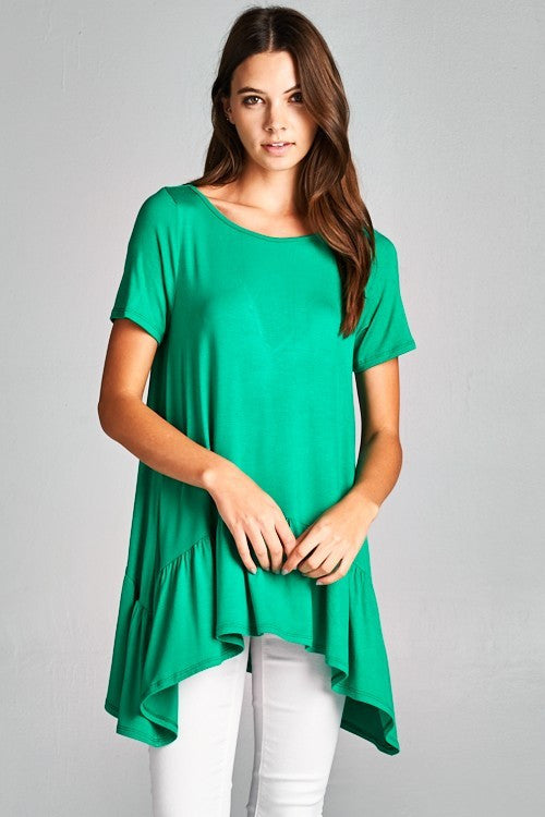 Ruffle High Low Hem Top