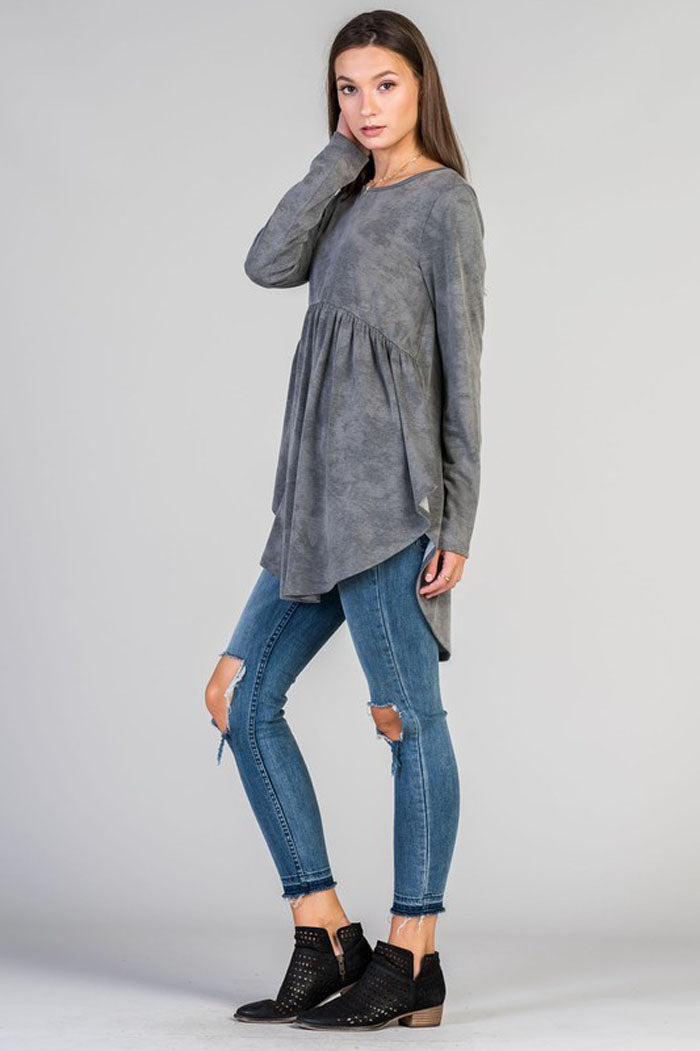 Charlotte Mineral Washed Top : Charcoal