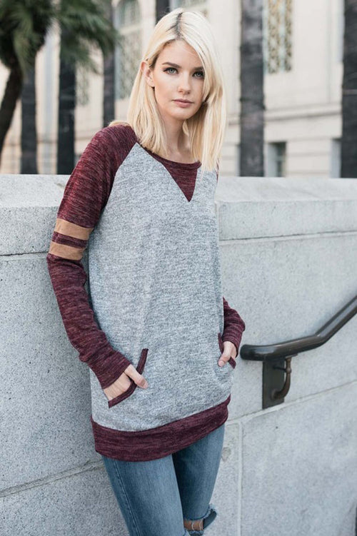 Casual Raglan Tunic Top - Heather grey/Burgundy