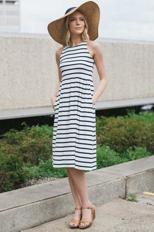 Stripe Racerback Midi Dress - Midi - GOZON
