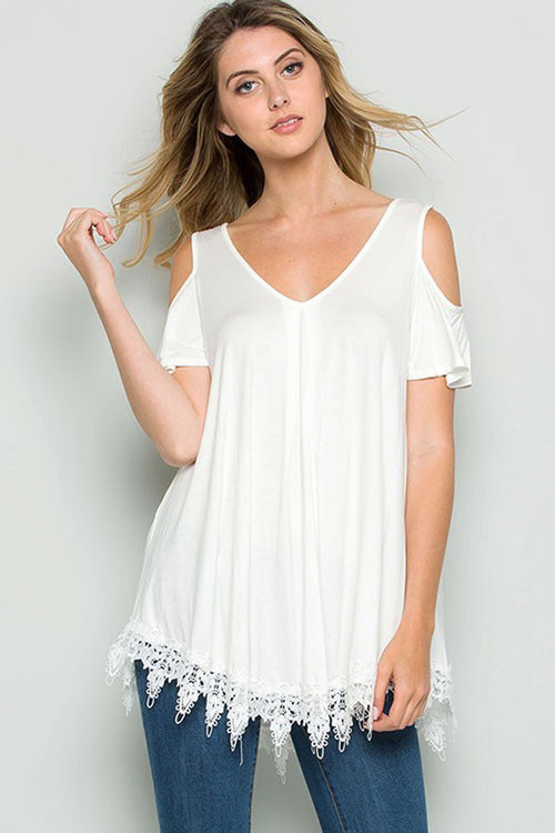 Crochet Lace Trim Top - shirts - GOZON