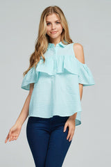 Gingham Open Shoulder Blouse - Shirts - GOZON