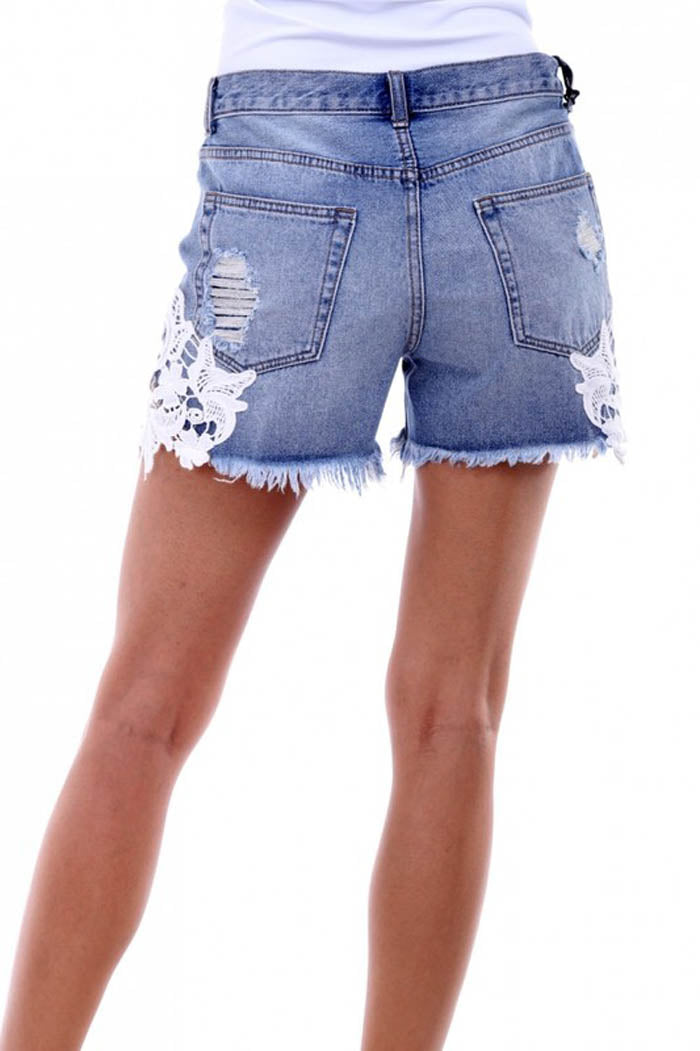 Denim Shorts with Crochet