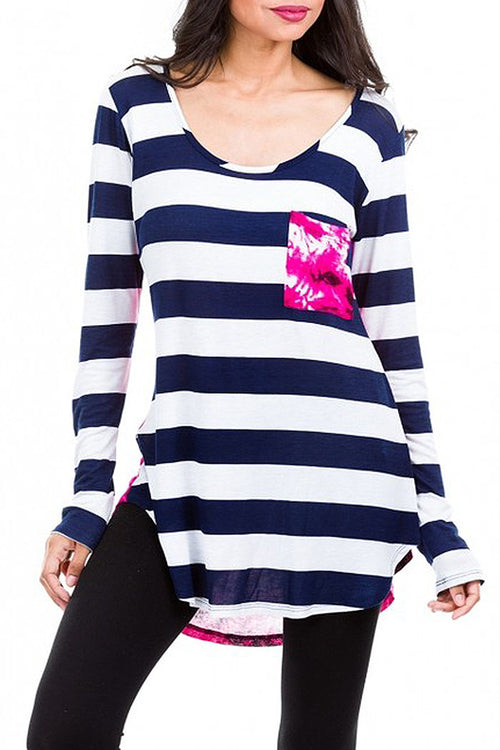 Tie Dye Stripe Long Sleeve Top