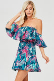 Ocean Blue Floral Off Shoulder Dress