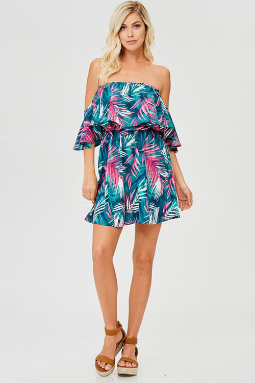 Ocean Blue Floral Off Shoulder Dress - Mini - GOZON