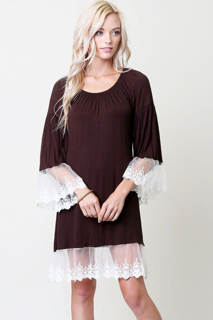 Lace Trim Midi Dress : Brown