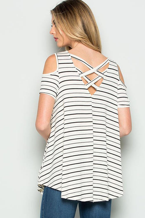 Stripe Cage Detail Top - shirts - GOZON