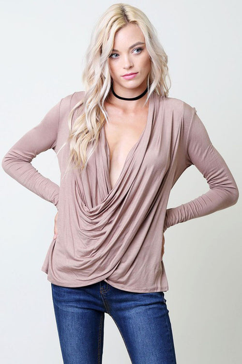 Jamie Plunging Top : Mocha