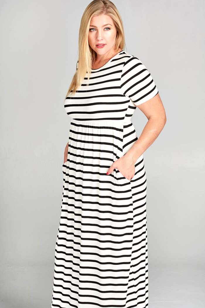 Countless Stripe Maxi Dress Plus : Ivory/Black