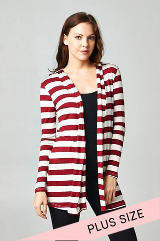 Stripe Print Cardigan : Burgundy