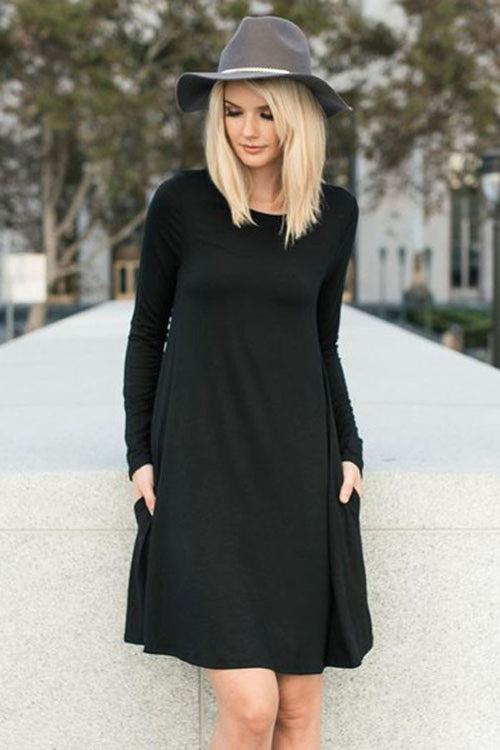 Solid Midi Dress with Pocket : Black