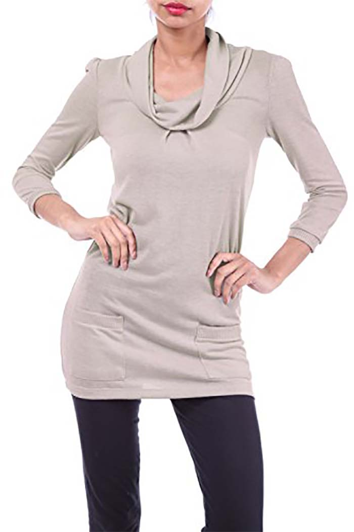 Cowl Neck Solid Knit Sweater Tunic Dress with Pockets