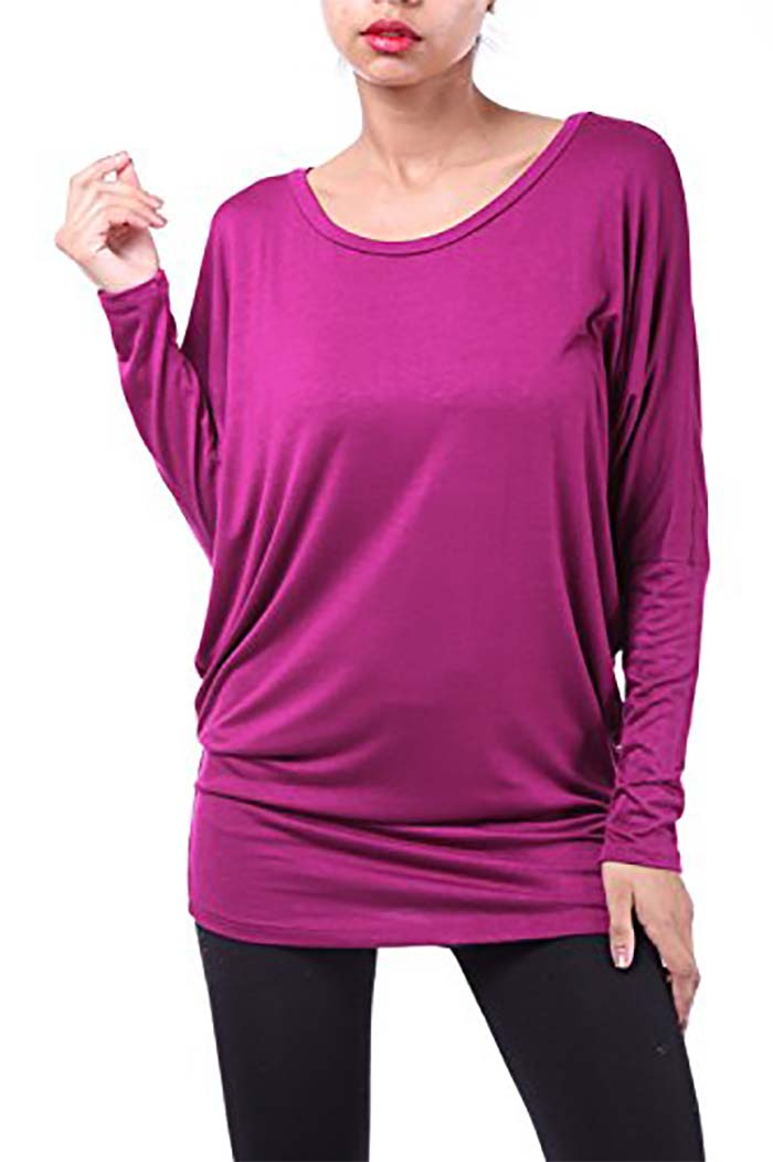 Long Sleeve Round Neck Solid Top