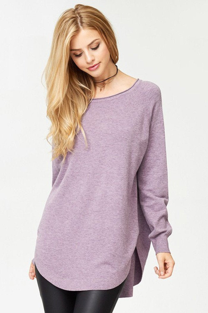Cozy Solid Tunic Top : Heather purple